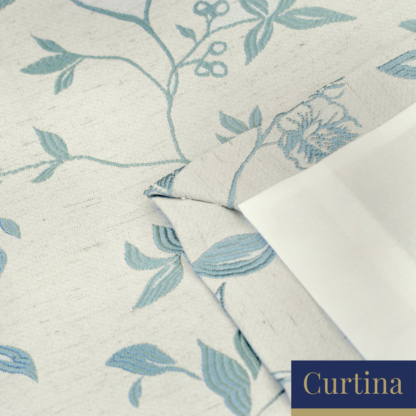 Bird Trail -  Jacquard Pencil Pleat Curtains in Duck Egg - By Curtina