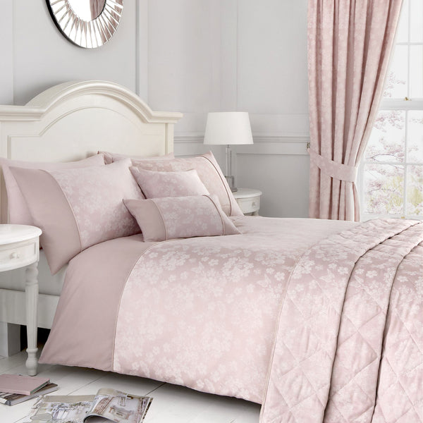 Blossom - Jacquard Bedding Set, Curtains & Cushions in Blush - by D&D Woven