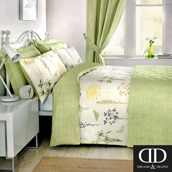 Botanique Green - Easy Care Floral Bedding & Curtains - by Dreams & Drapes