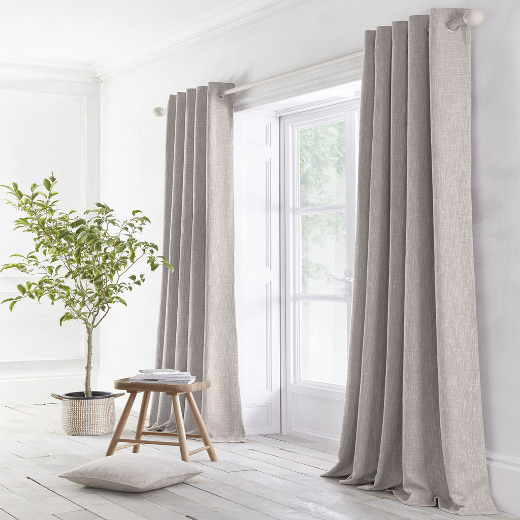 Boucle - Jacquard Pair of Eyelet Curtains in Grey - By Appletree Loft