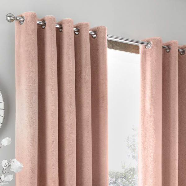 Brigitte -  Pair of Eyelet Curtains in Blush by Caprice