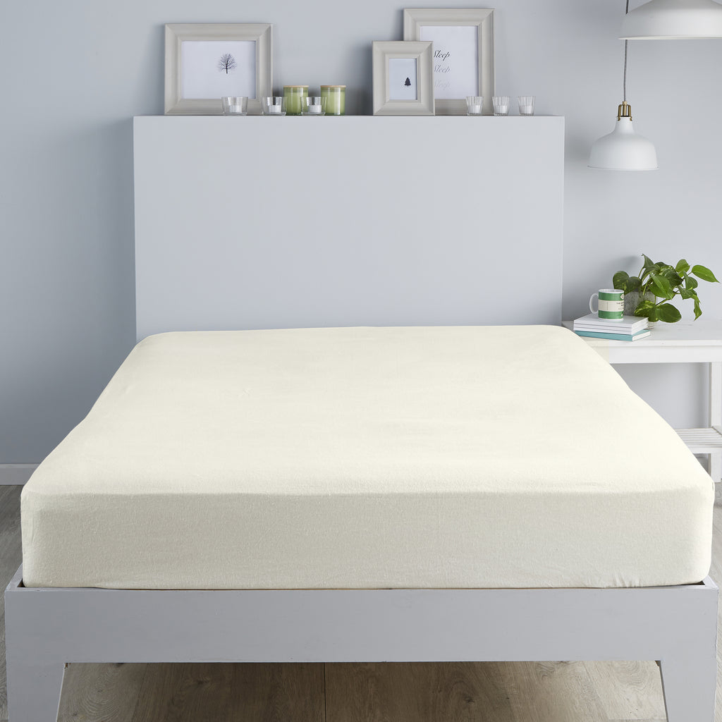 Brushed Bedding -  28cm Fitted Sheet and Pillowcases - in Cream by Fusion