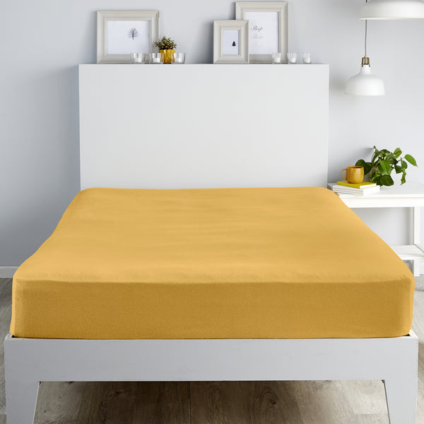 Brushed Bedding -  28cm Fitted Sheet and Pillowcases -  in Ochre by Fusion