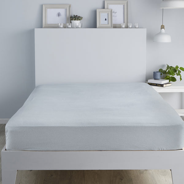 Brushed Bedding -  28cm Fitted Sheet and Pillowcases -  in Silver by Fusion