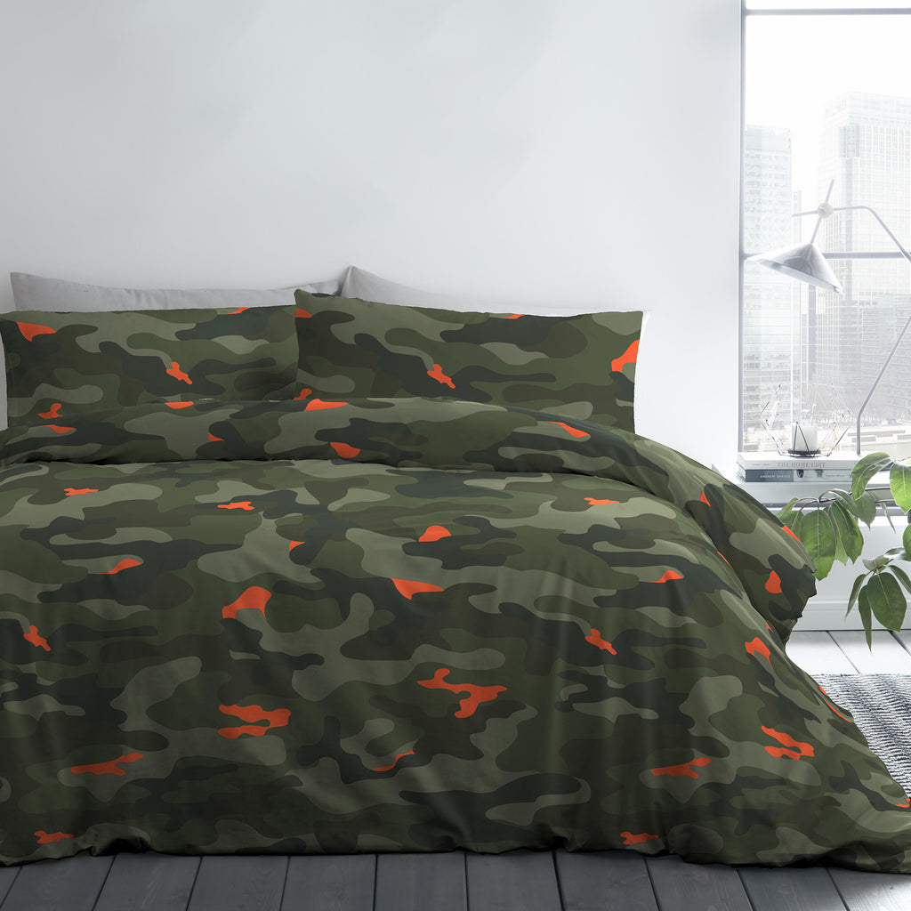 Camouflage - Easy Care Duvet Cover Set, Curtains & Fitted Sheets in Green - by Bedlam