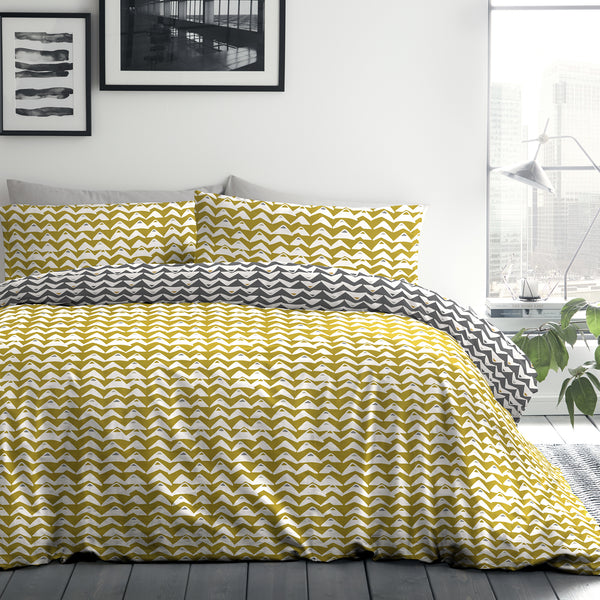 Carson - Easy Care Duvet Cover Set in Ochre Yellow - By Fusion
