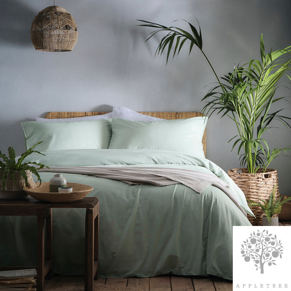Cassia Green - 100% Relaxed Cotton Duvet Cover Set - by Appletree Signature