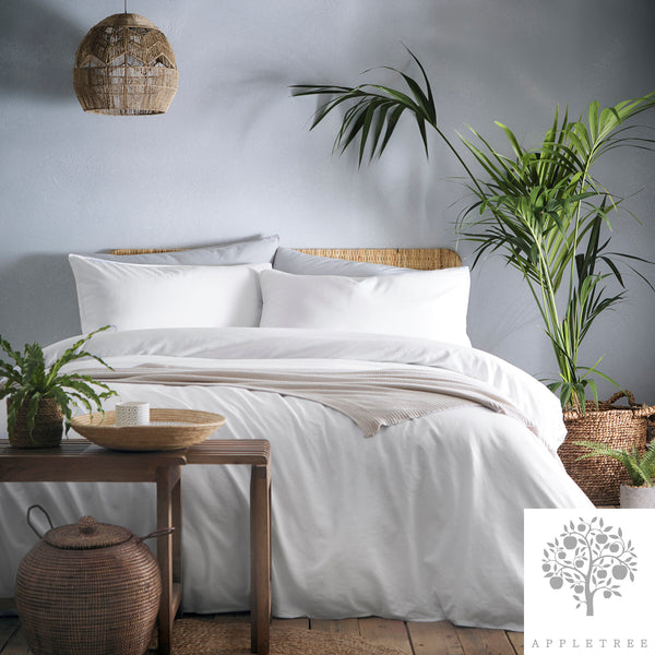 Cassia White - 100% Cotton Garment Washed Duvet Cover Set - by Appletree Signature