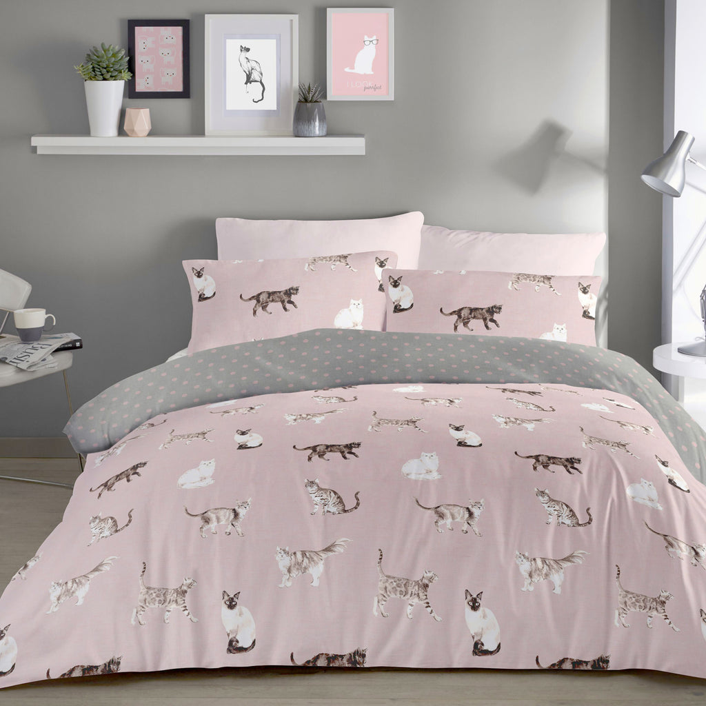 Cats	Blush - Easy Care Duvet Cover Set - By Fusion
