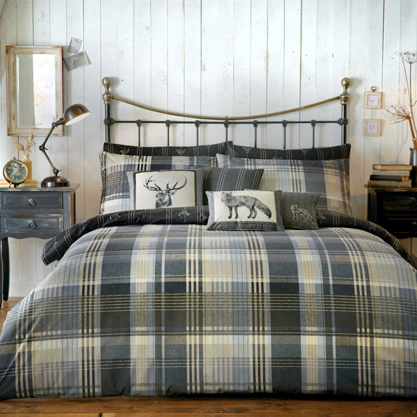 Connolly Check - 100% Brushed Cotton Checked Duvet Set in Charcoal - by Dreams & Drapes