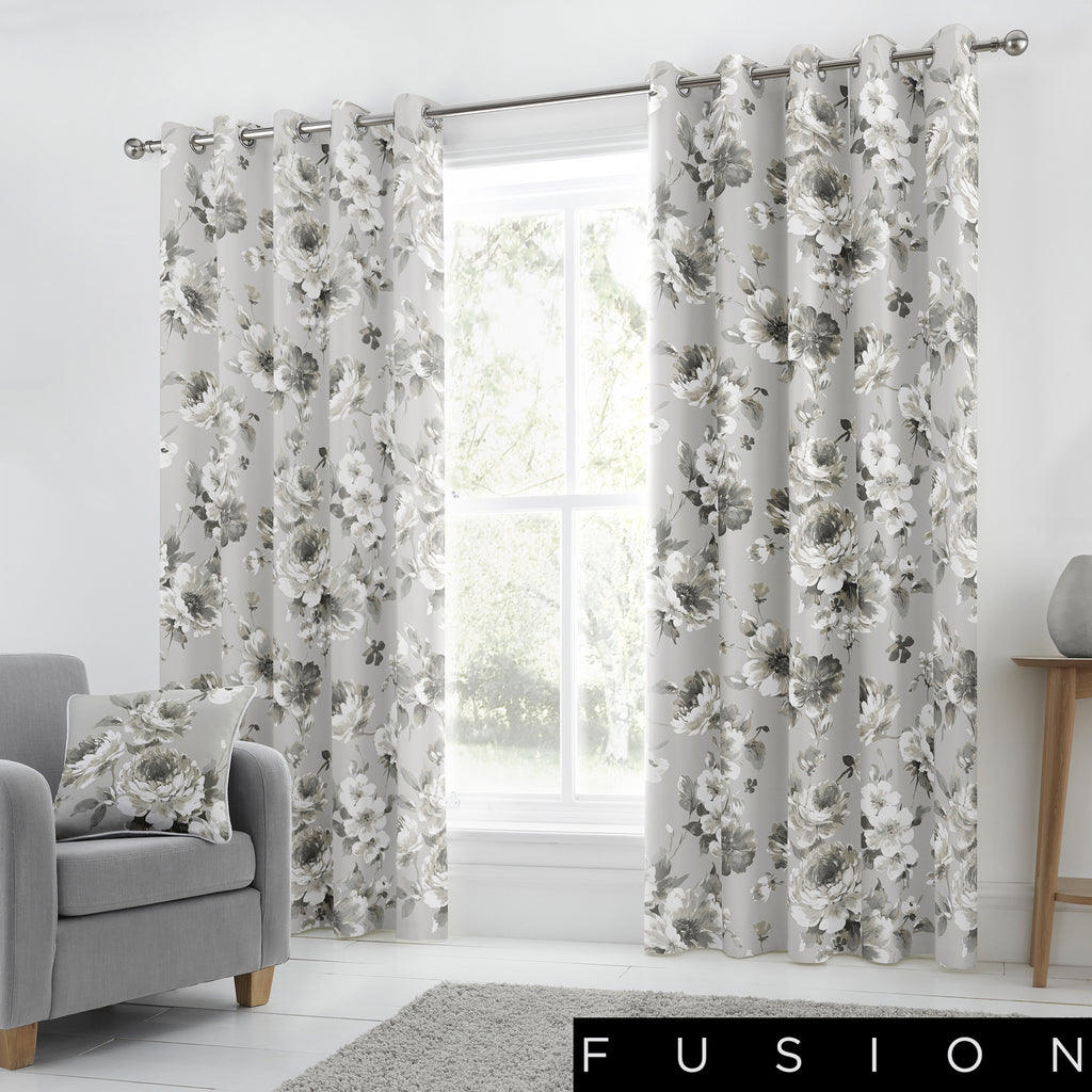 Charity - 100% Cotton Lined Eyelet Curtains in Grey - by Fusion