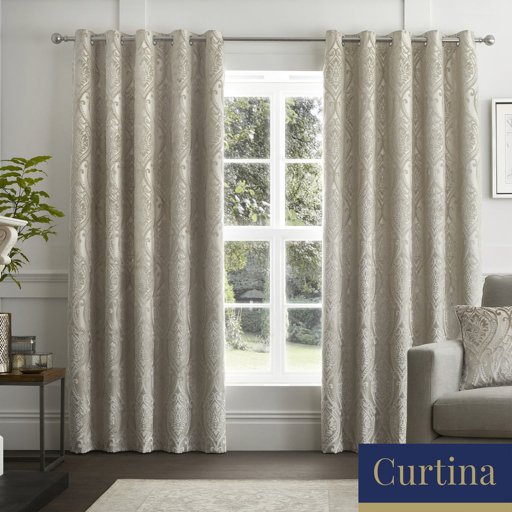 Chateau - Damask Jacquard Eyelet Curtains in Natural - By Curtina