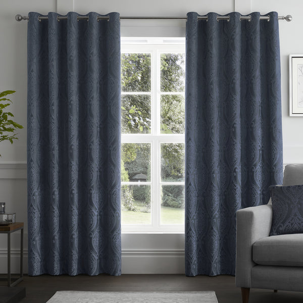 Chateau - Damask Jacquard Eyelet Curtains in Navy - By Curtina