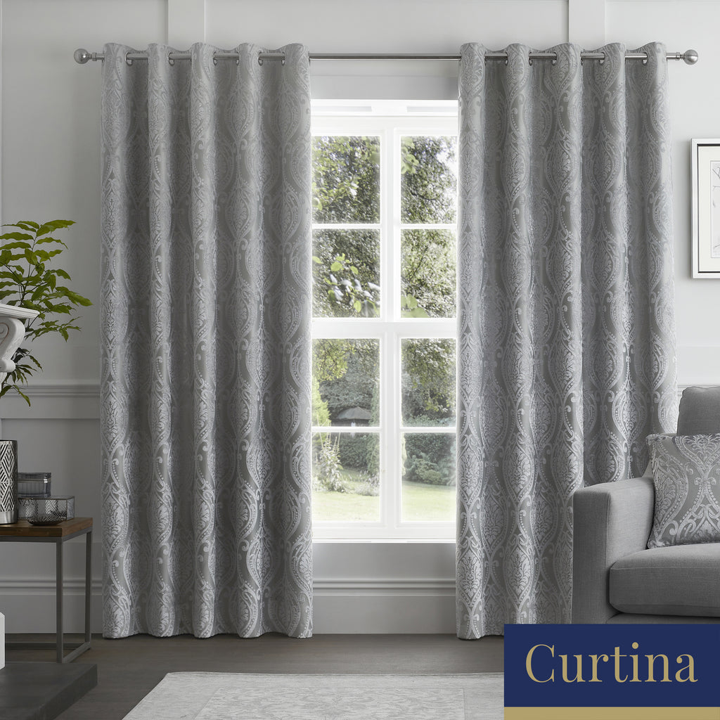 Chateau - Damask Jacquard Eyelet Curtains in Silver - By Curtina