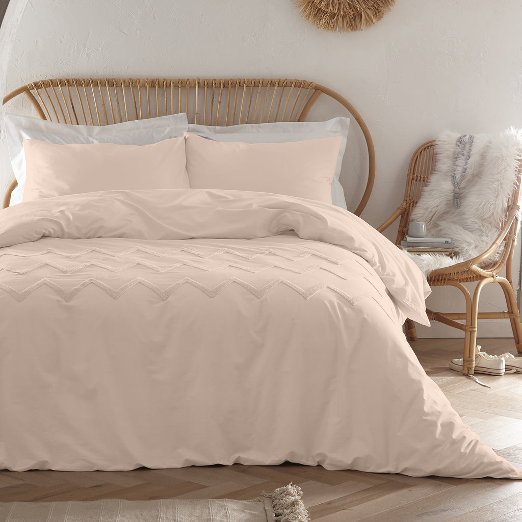 Chevron Tuft - Tufted 100% Cotton Duvet Cover Set in Blush - by Appletree Boutique