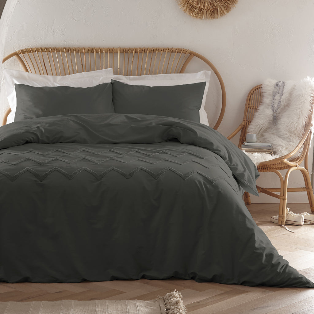 Chevron Tuft - Tufted 100% Cotton Duvet Cover Set in Charcoal - by Appletree Boutique