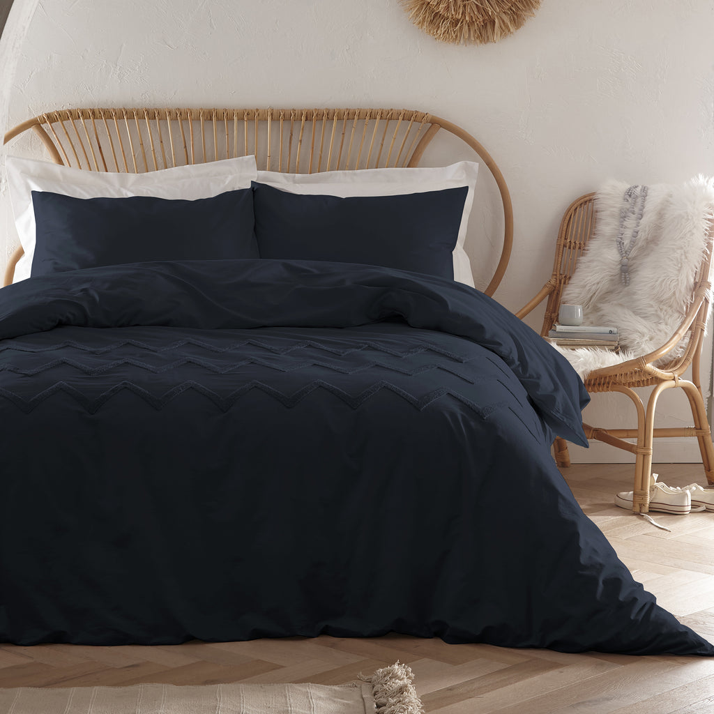 Chevron Tuft - Tufted 100% Cotton Duvet Cover Set in Navy - by Appletree Boutique