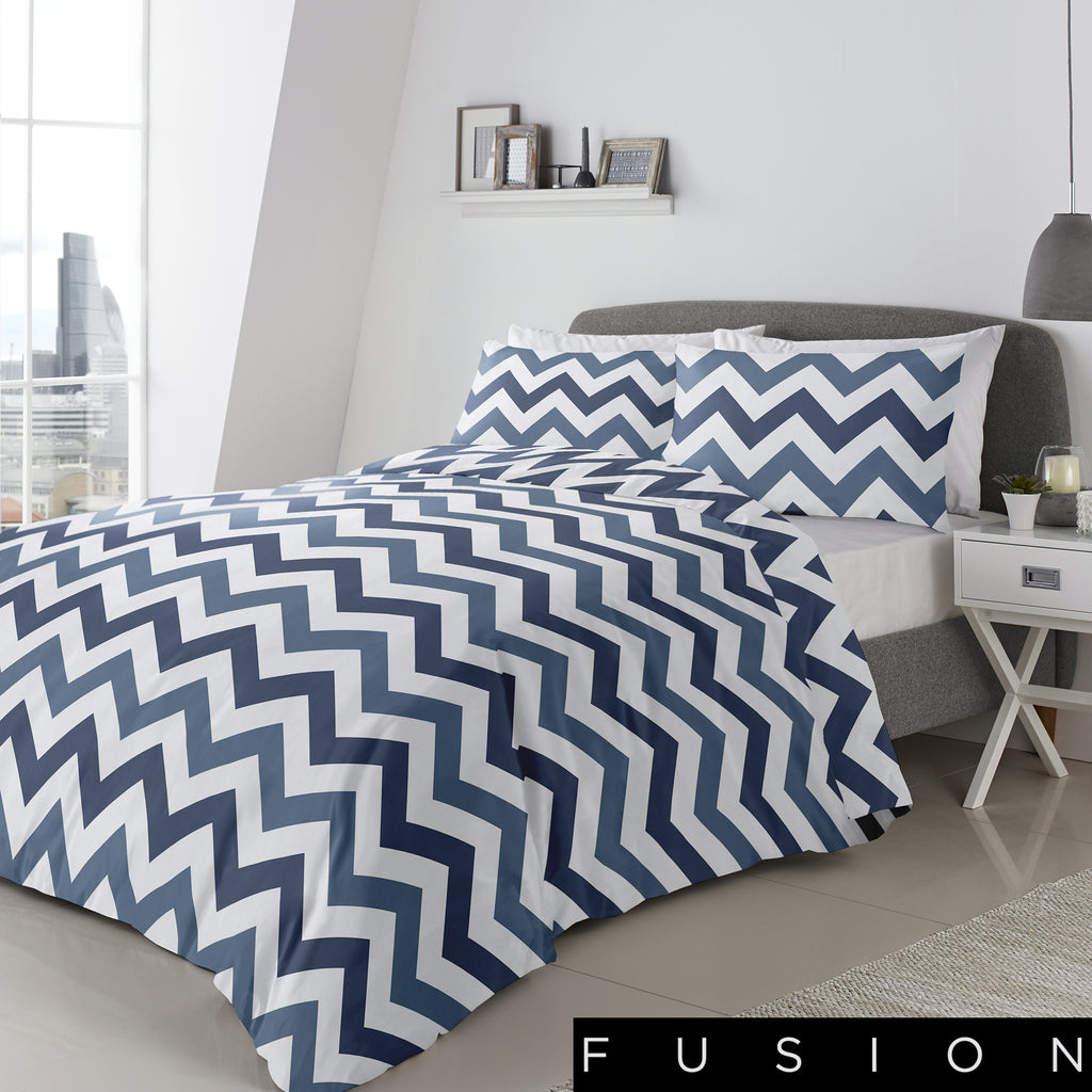 Chevron Blue - Easy Care Duvet Cover Set - By Fusion