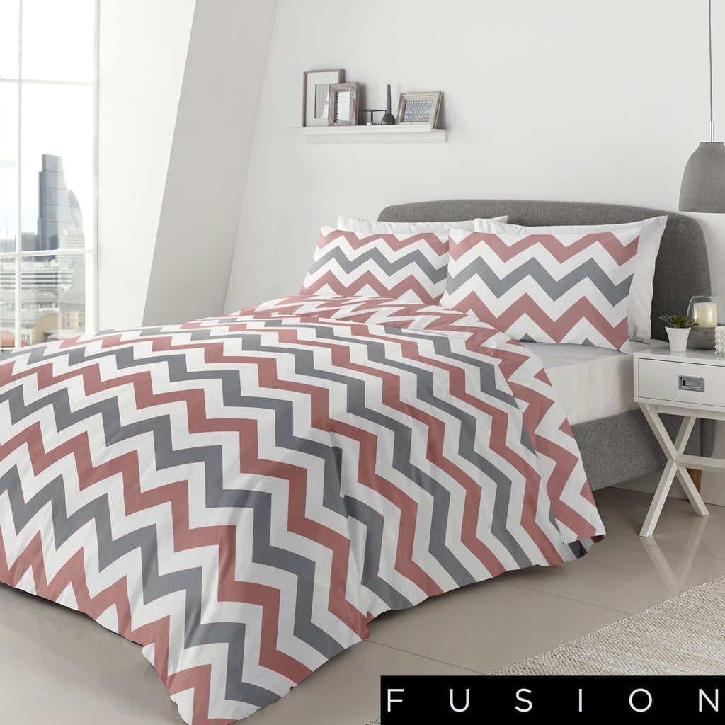 Chevron Blush - Easy Care Duvet Cover Set - By Fusion