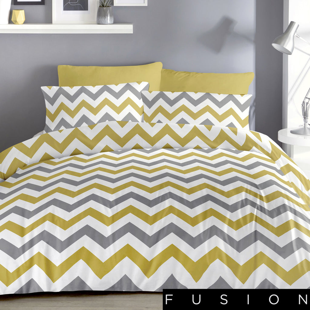 Chevron Ochre - Easy Care Duvet Cover Set - By Fusion