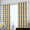 Chevron - 100% Cotton Lined Eyelet Curtains in Ochre - by Fusion