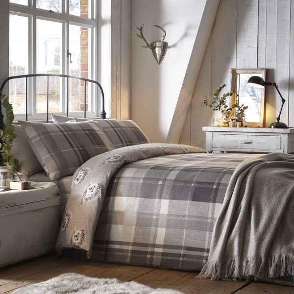 Colville Check Grey - 100% Brushed Cotton Checked Duvet Set - by Dreams & Drapes
