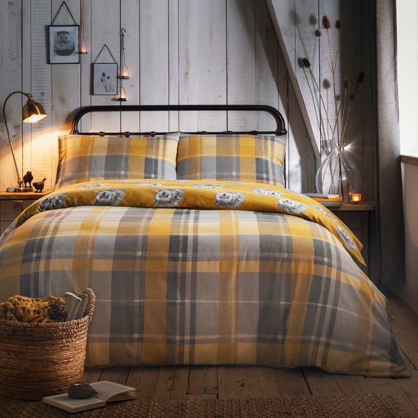 Colville Check Ochre - 100% Brushed Cotton Checked Duvet Set - by Dreams & Drapes