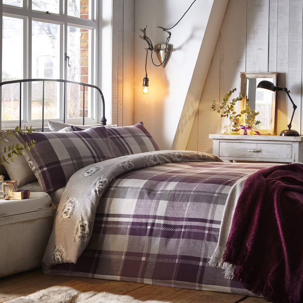 Colville Check Plum - 100% Brushed Cotton Checked Duvet Set - by Dreams & Drapes