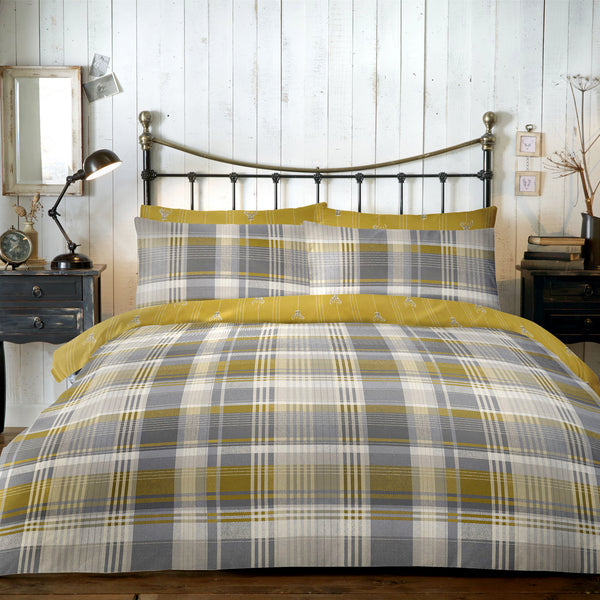 Connolly Check - 100% Brushed Cotton Checked Duvet Set in Ochre- by Dreams & Drapes