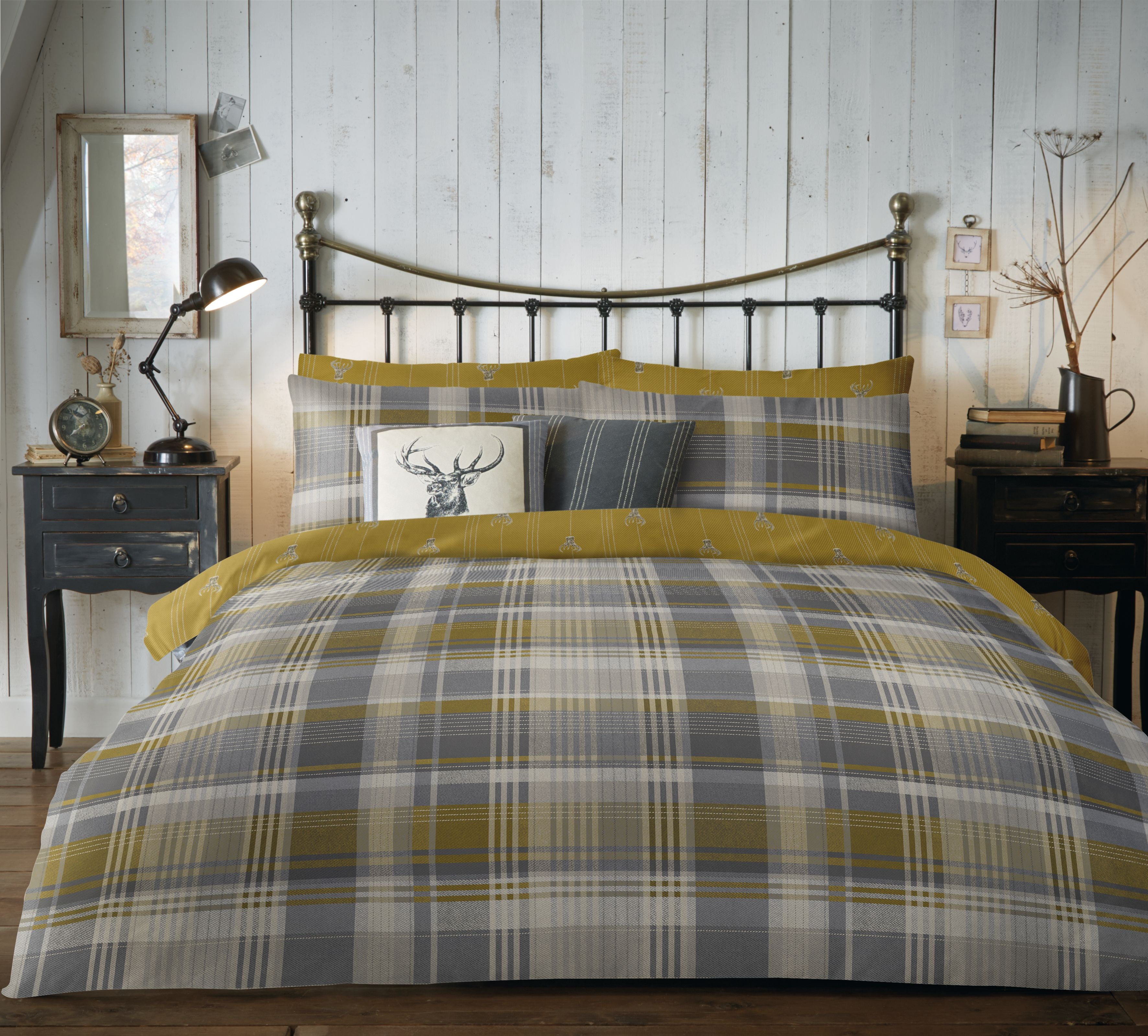 Connolly Check - 100% Brushed Cotton Checked Duvet Set in Ochre- by D&D Lodge
