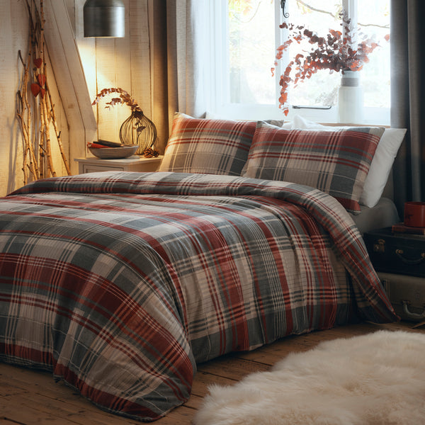 Connolly - 100% Brushed Cotton Checked Duvet Set in Red - by Dreams & Drapes