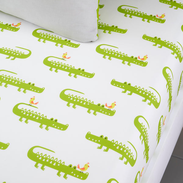 Crocodile Smiles - 100% Cotton Fitted Sheets by Cosatto