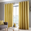 Dari - 100% Cotton Pair of Eyelet Curtains in Ochre - by Fusion