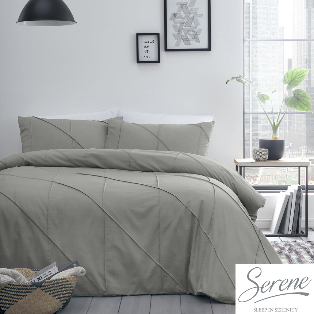 Dart - Pleated Duvet Cover Set in Grey - by Serene