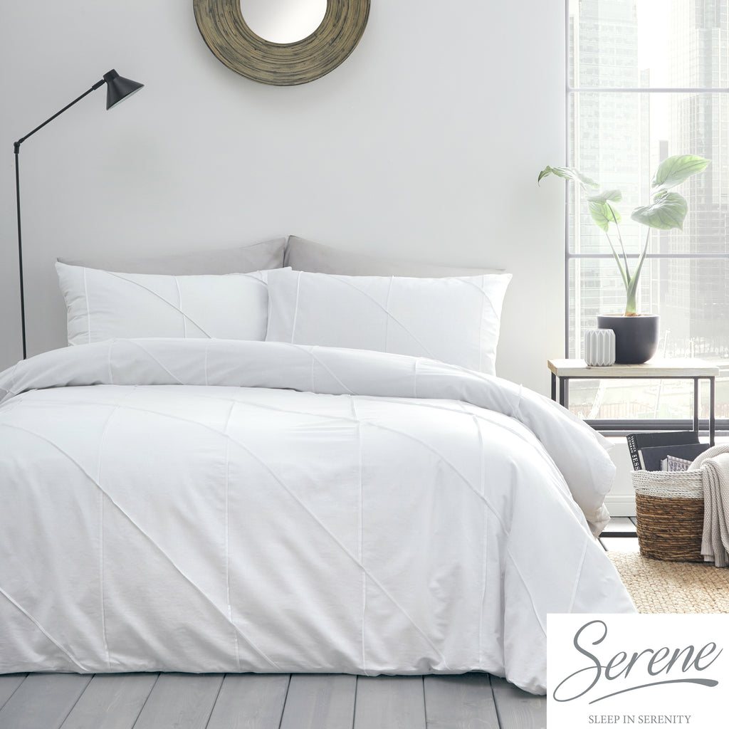 Dart - Pleated Duvet Cover Set in White - by Serene