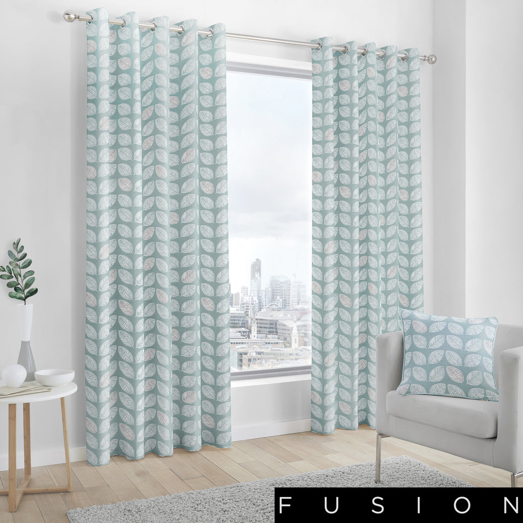 Delft - 100% Cotton Lined Eyelet Curtains in Duck Egg - by Fusion