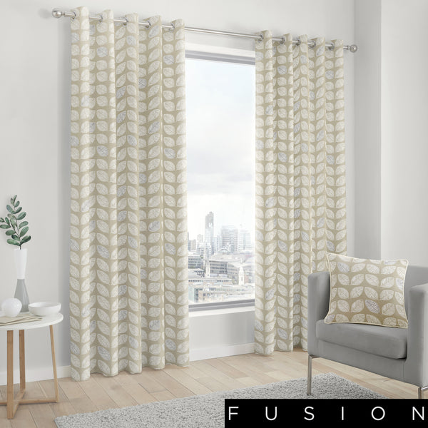 Delft - 100% Cotton Lined Eyelet Curtains in Natural - by Fusion