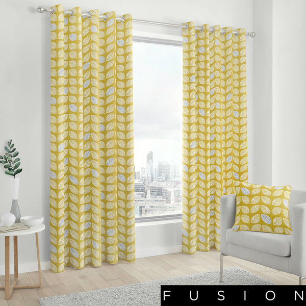 Delft - 100% Cotton Lined Eyelet Curtains in Ochre - by Fusion