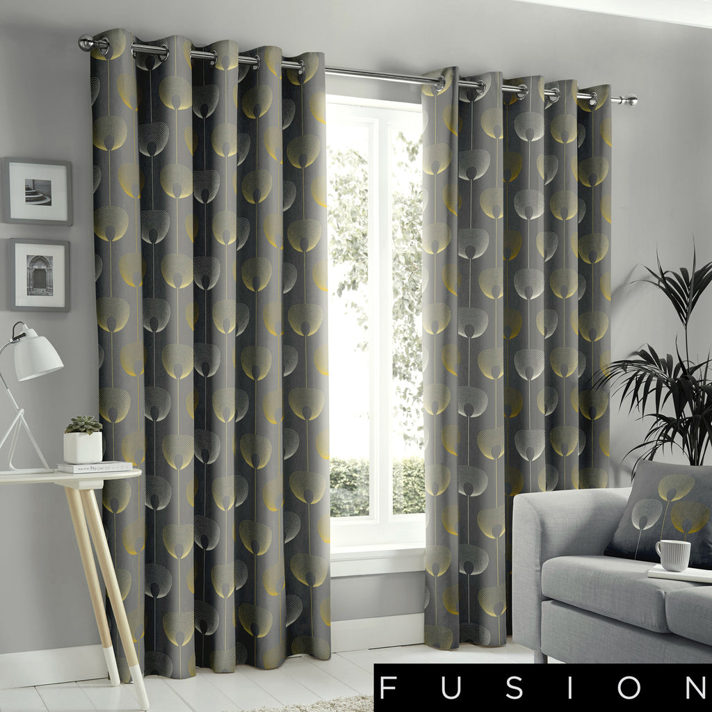 Delta - 100% Cotton Lined Eyelet Curtains in Grey- by Fusion