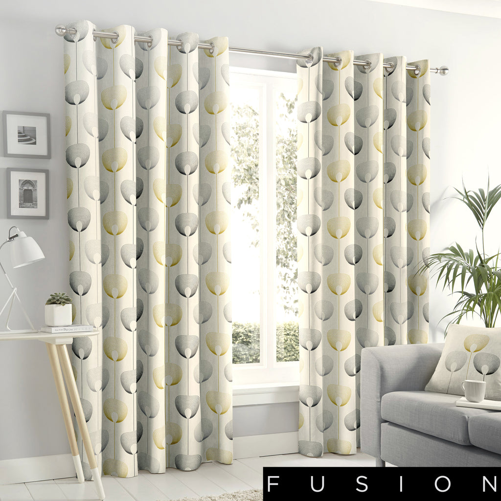 Delta - 100% Cotton Lined Eyelet Curtains in Natural - by Fusion