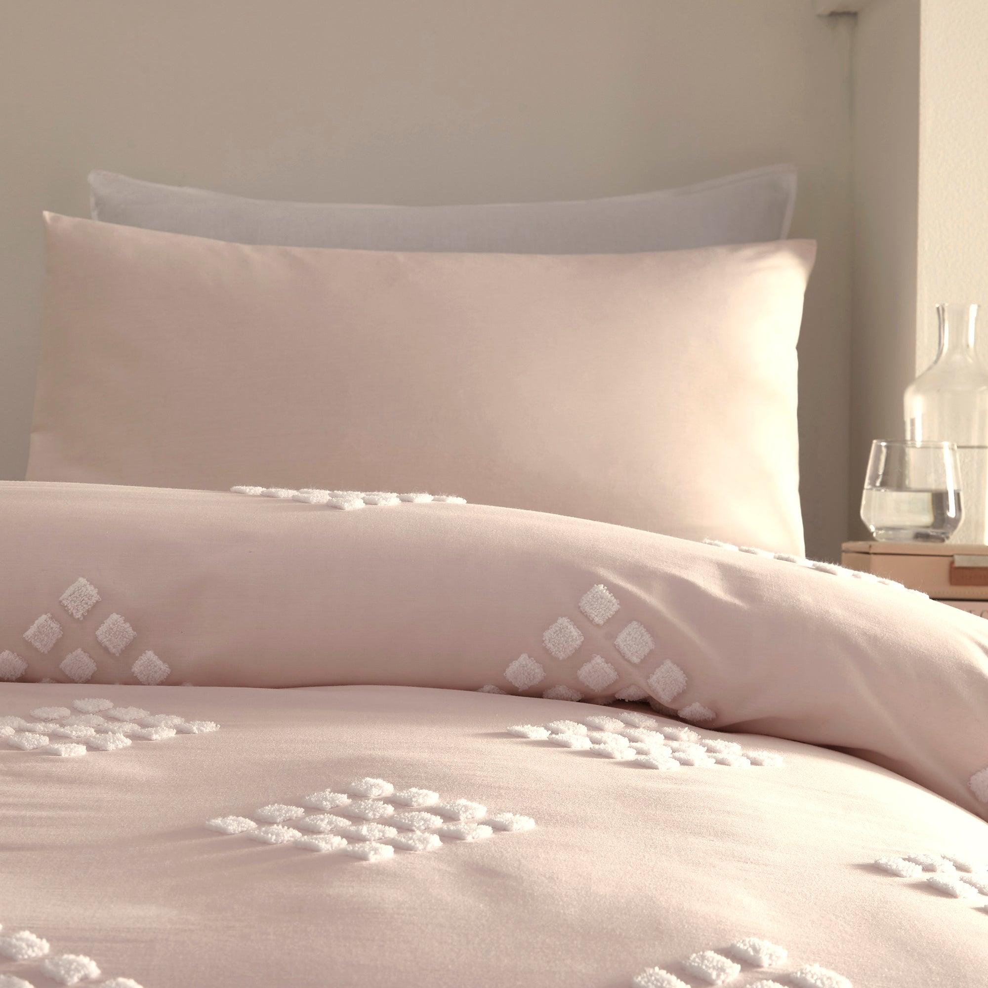Diamond Tuft - 100% Cotton Duvet Cover Set in Blush - by Appletree Boutique