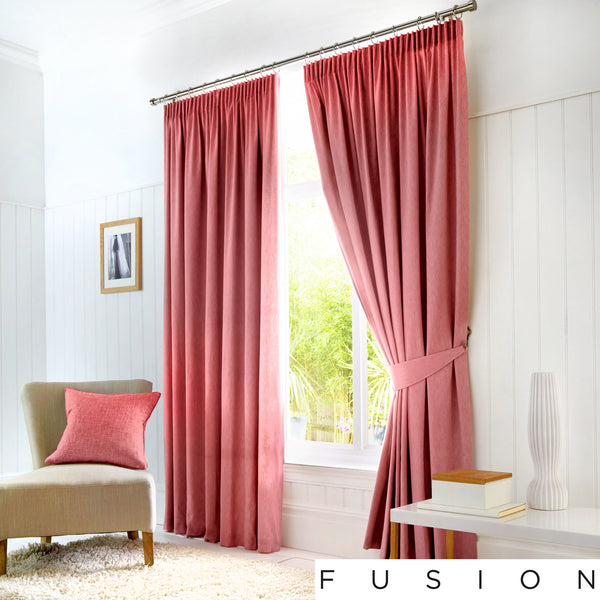 Dijon - Blackout Pair of Pencil Pleat Curtains in Blush - by Fusion