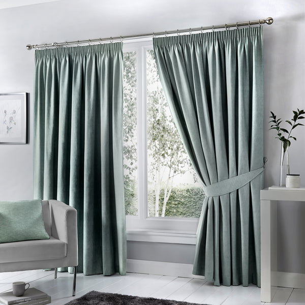 Dijon - Blackout Pair of Pencil Pleat Curtains in Duck Egg - by Fusion
