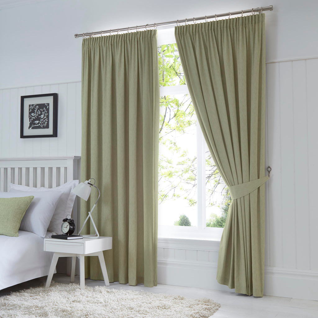Dijon - Blackout / Thermal Insulated Pair of Pencil Pleat Curtains in Green - by Fusion