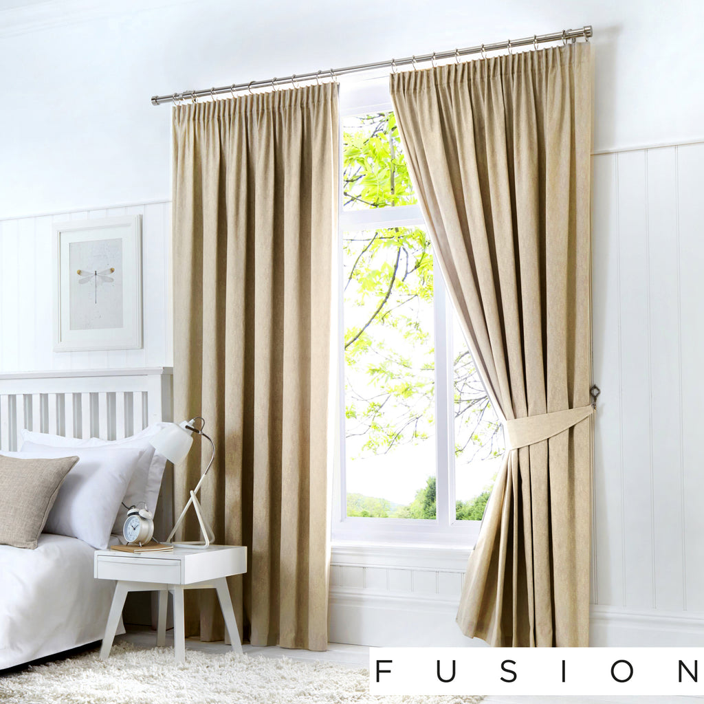 Dijon - Blackout Pair of Pencil Pleat Curtains in Natural - by Fusion