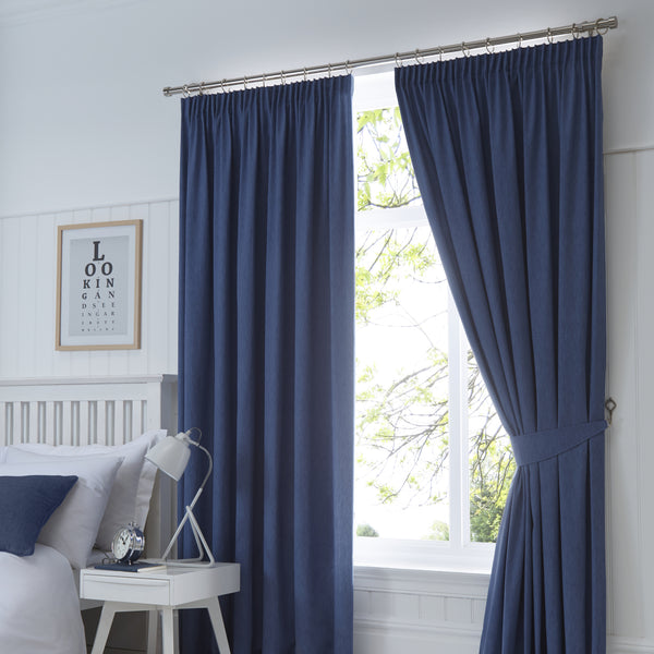 Dijon - Blackout Pair of Pencil Pleat Curtains in Navy - by Fusion