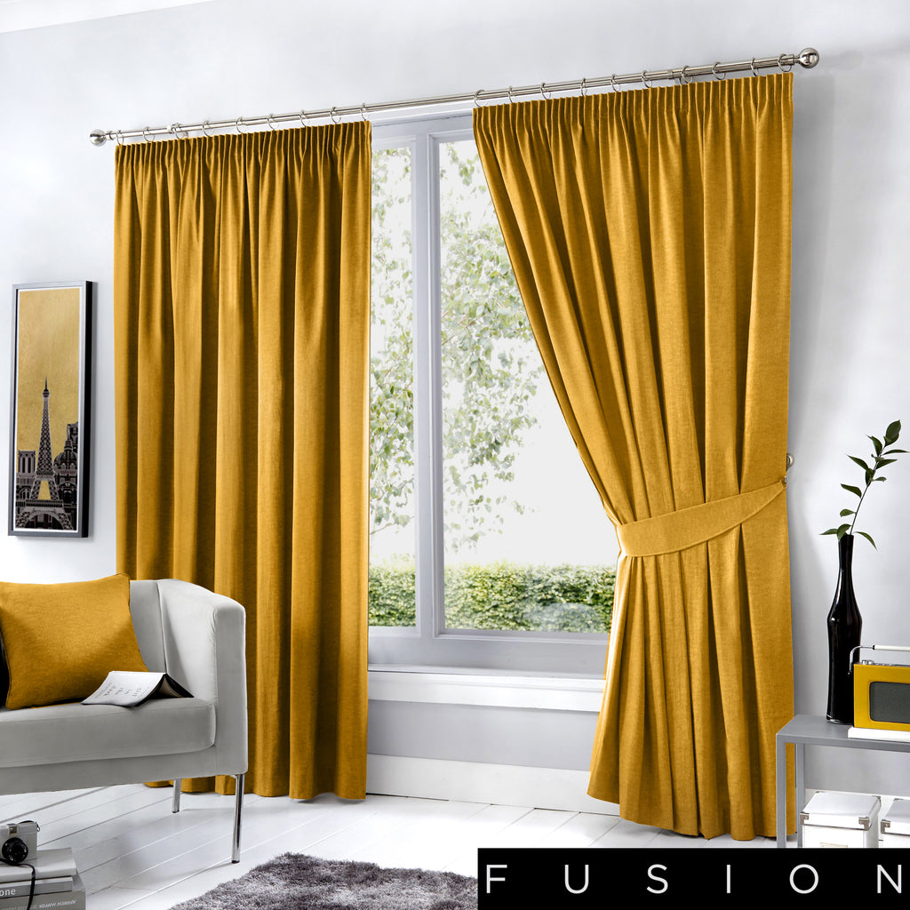Dijon - Blackout Pair of Pencil Pleat Curtains in Ochre - by Fusion