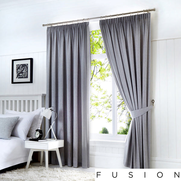 Dijon - Blackout Pair of Pencil Pleat Curtains in Silver - by Fusion