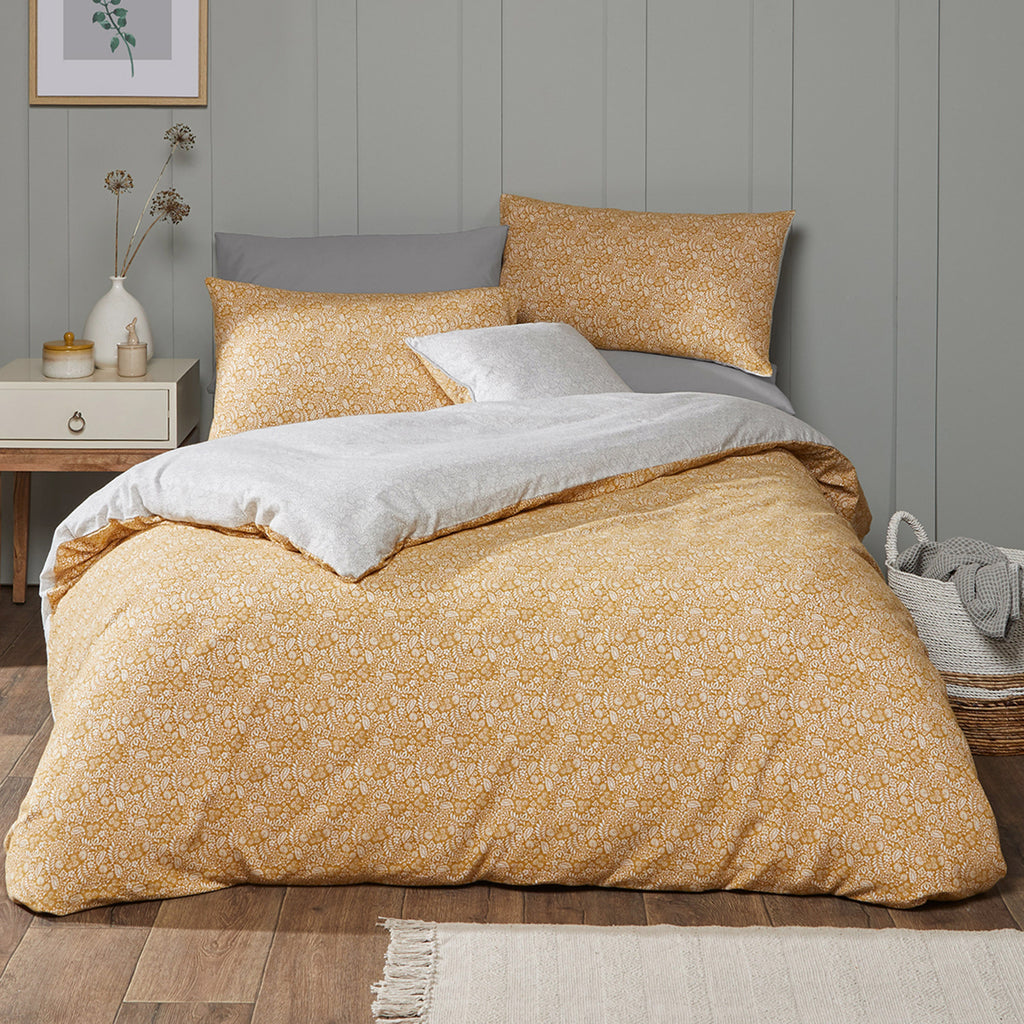 Ditsy Flora - 100% Brushed Cotton Duvet Cover Set in Ochre - By Fusion