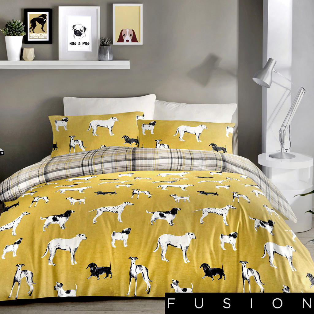 Dogs Ochre - Easy Care Duvet Cover Set - By Fusion